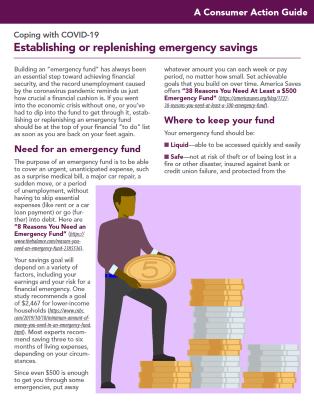 Establishing or replenishing emergency savings