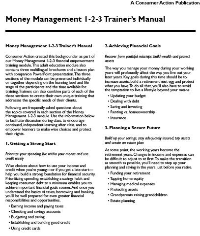 Consumer Action Money Management 1 2 3 Trainer S Manual