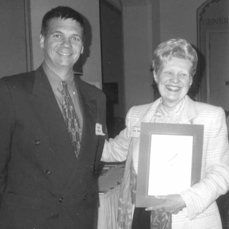 Award recipient Louise Renne is seen with Owen Clement of the San Francisco City Attorney's office.