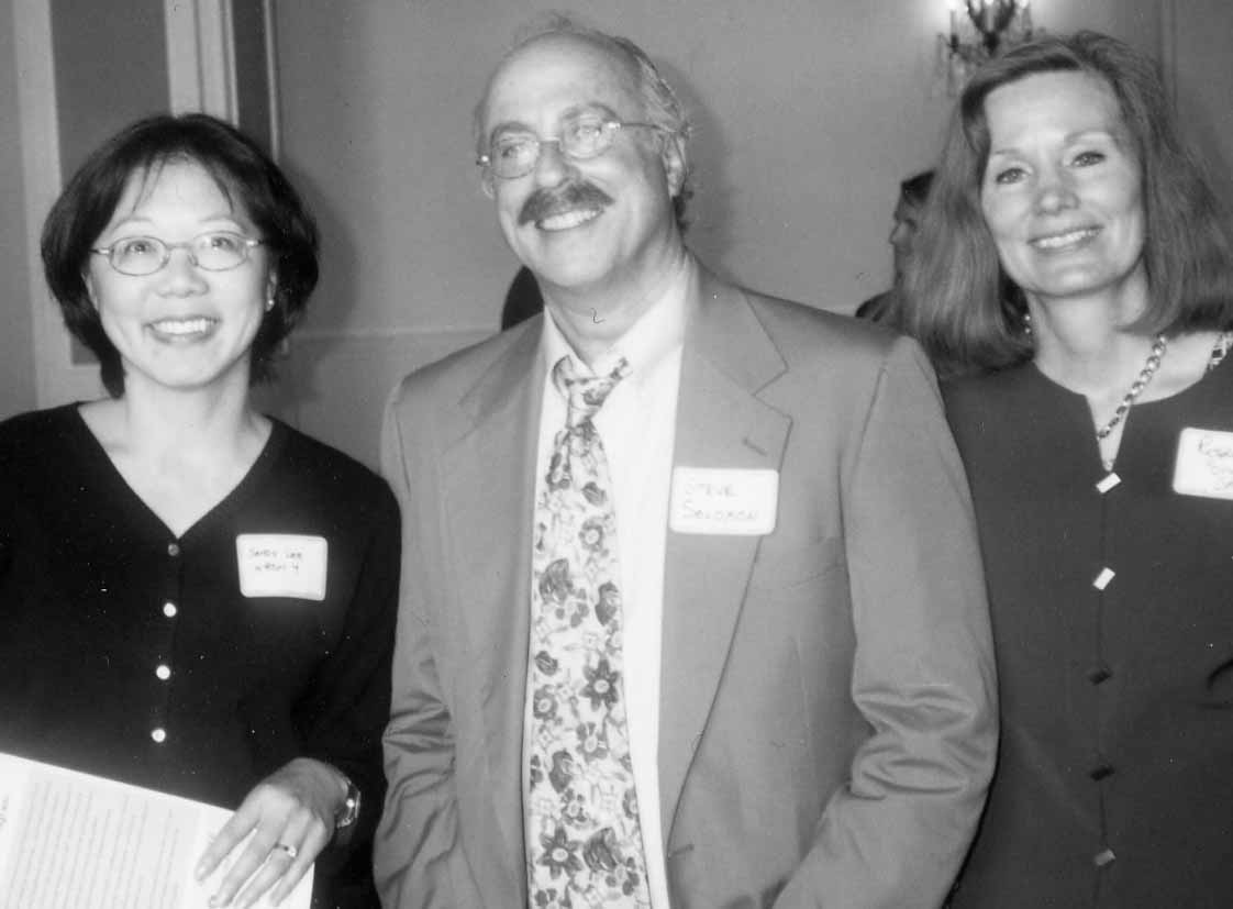 Sandy Lee of KRON-TV (left) is seen with attorney Steven Solomon and Rosemary Shahan of Consumers for Auto Reliability and Safety (CARS). At right, award recipient Louise Renne is seen with Owen Clement of the San Francisco City Attorney's office.